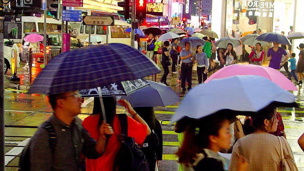 Pedestrians Waiting To Cross Road With Umbrellas, Tsim Sha Tsui, Kowloon, Hong Kong, China