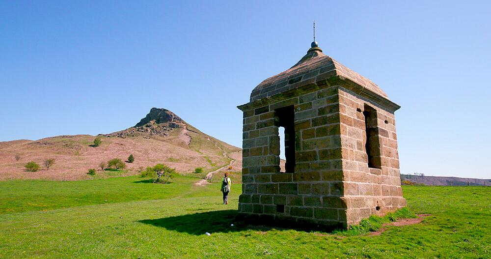 View of roseberry topping & old shooting hut, Newton Wood, Great Ayton