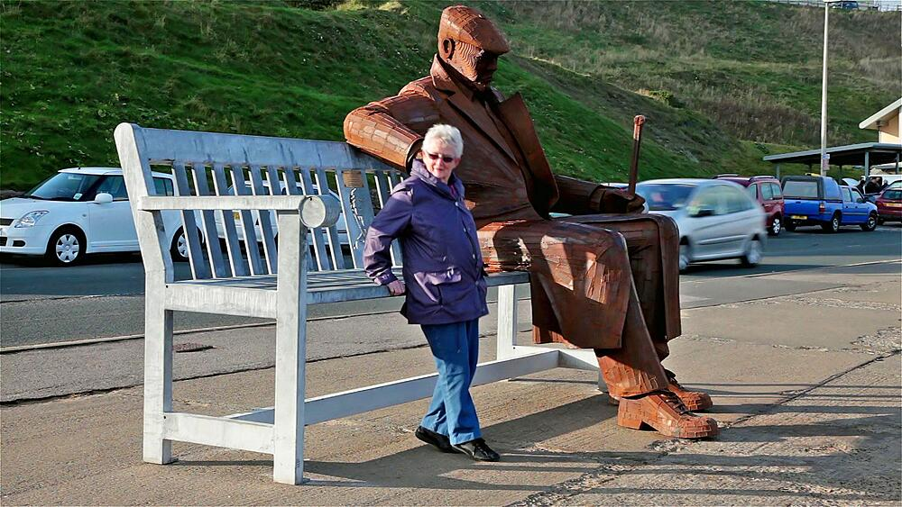 The Old Soldier Sitting On A Bench Statue, Marine Drive, Scarborough, North Yorkshire, England