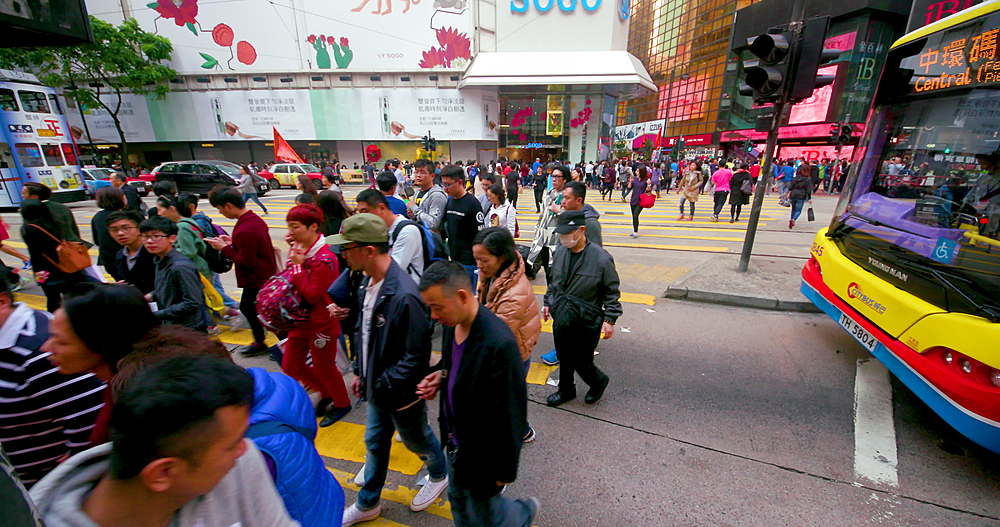 Pedestrian crossing at Yee Wo street & Hennessy road, Causeway Bay, Hong Kong, China