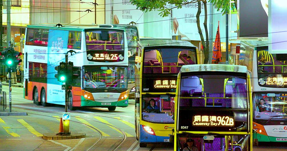 Buses & taxi's on Yee Wo street, Causeway Bay, Hong Kong, China