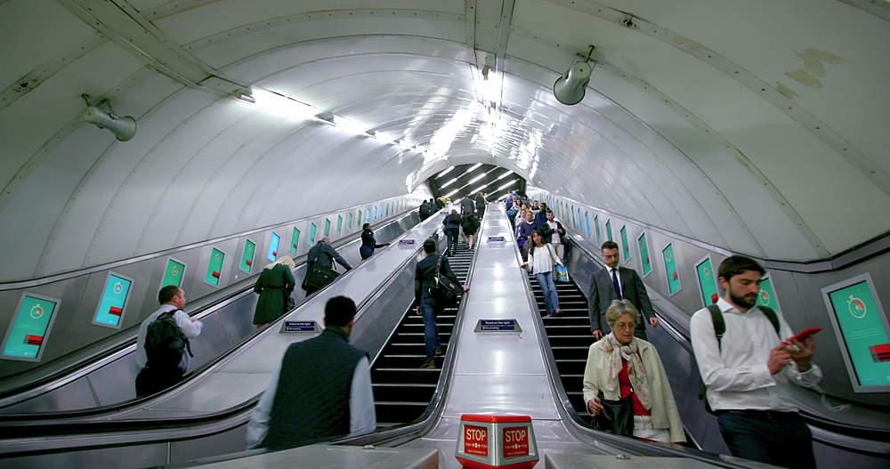 Charing cross London underground station escalator - 1130-5250
