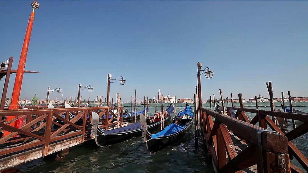 Gondola's At Service Point, Venice, Italy
