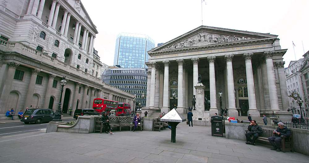 The royal exchange and bank of england; royal court, london
