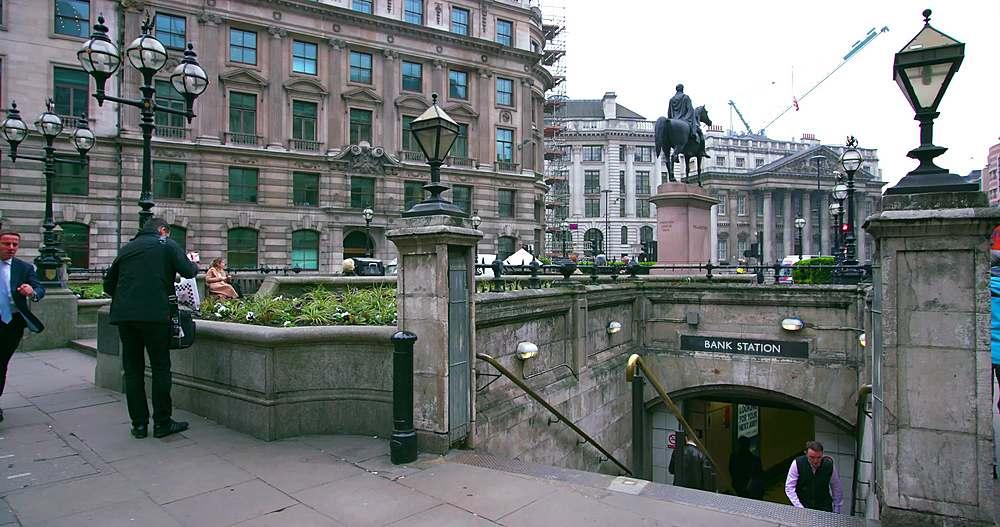 London underground bank station subway entrance; threadneedle street, london