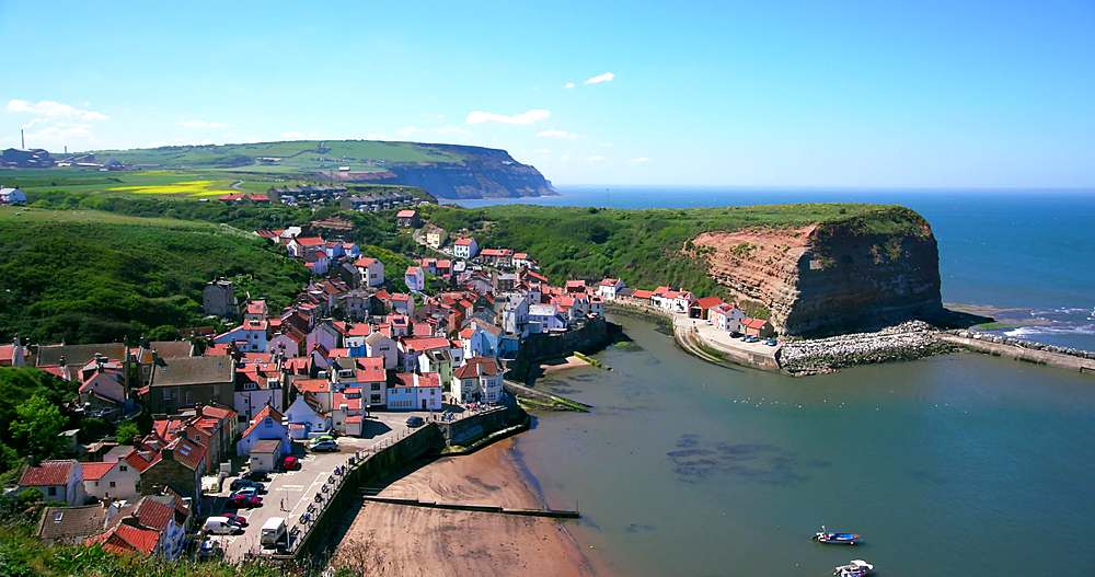 Clifftop view of staithes & harbour - 1130-6410