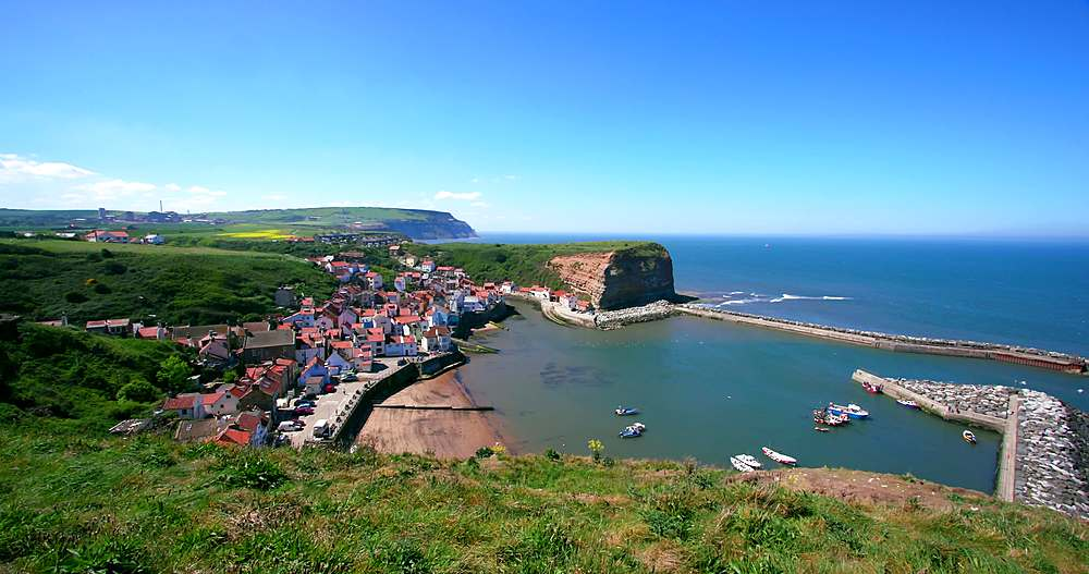 Clifftop view of staithes & harbour - 1130-6411