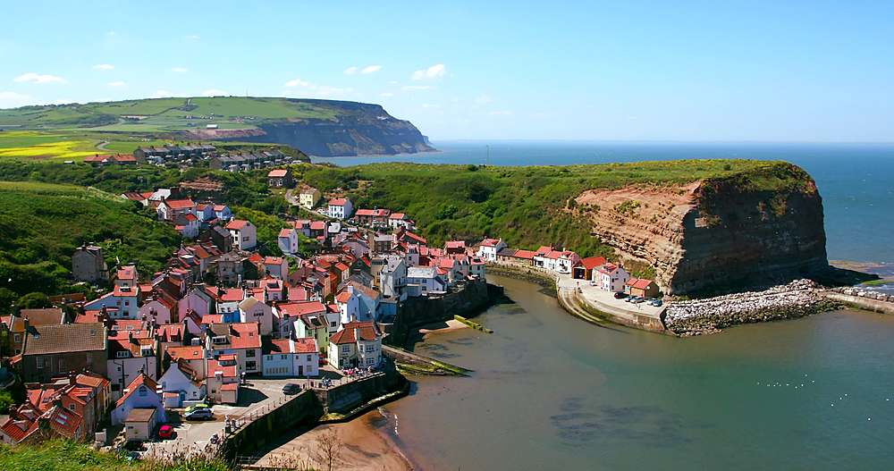 Clifftop view of staithes & harbour - 1130-6412