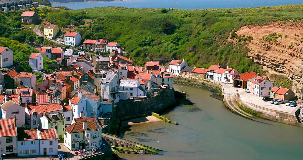 Clifftop view of staithes & harbour - 1130-6413