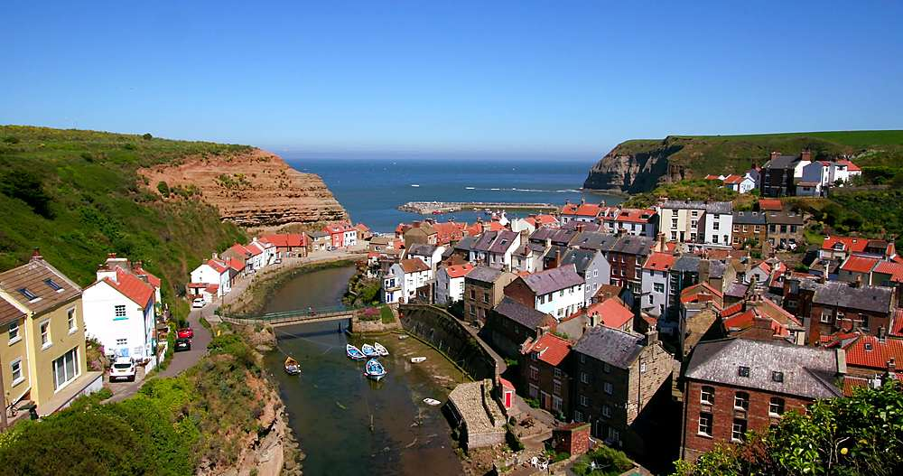 Clifftop view of staithes & harbour - 1130-6416