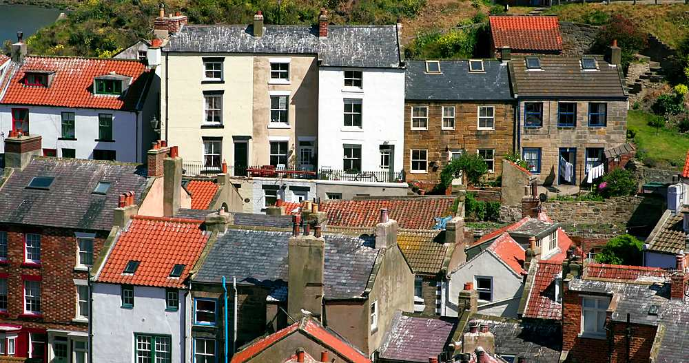 Clifftop view of staithes rooftops - 1130-6420