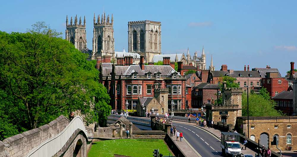 York minster, lendal bridge & city walls, york city centre, York, North Yorkshire, United Kingdom - 1130-6447