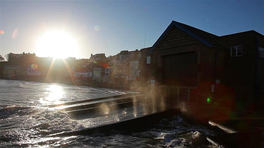 Sea Hits Lifeboat Landing At High Tide, South Bay, Scarborough