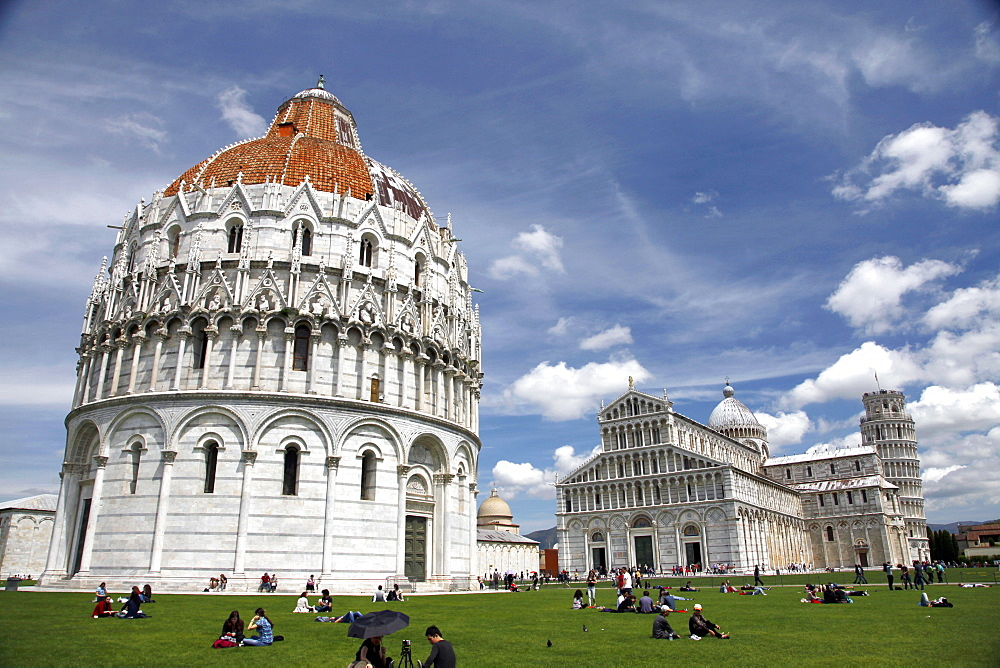 The Baptistery, St. Mary's Cathedral And Leaning Tower, UNESCO World Heritage Site, Pisa, Tuscany, Italy, Europe