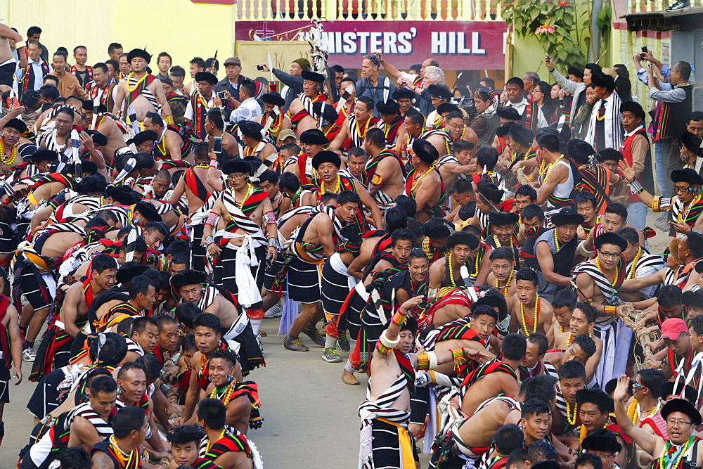 Naga tribesmen participating at the Stone pulling ceremony during Kisima Nagaland Hornbill festival, Kohima, Nagaland, India, Asia - 1131-1018