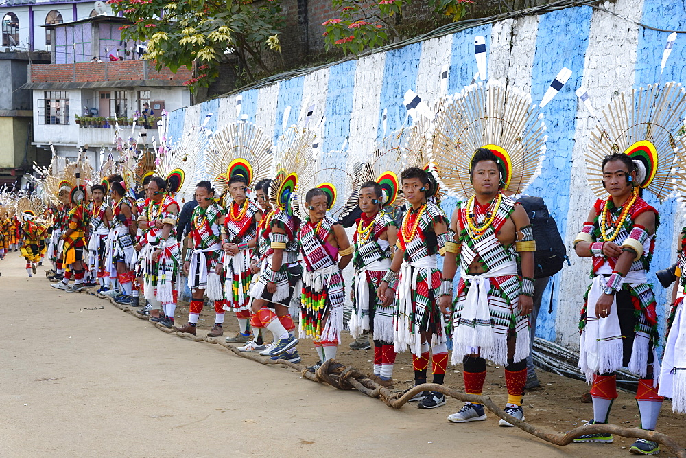Naga tribesmen participating at the Stone pulling ceremony during Kisima Nagaland Hornbill festival, Kohima, Nagaland, India, Asia
