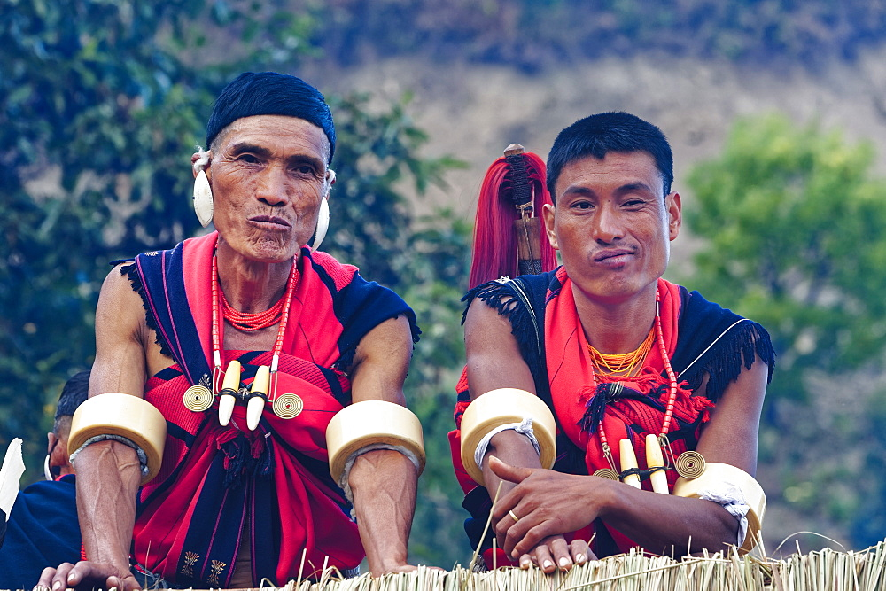Naga tribal men in traditional clothing, Kisima Nagaland Hornbill festival, Kohima, Nagaland, India, Asia - 1131-1024