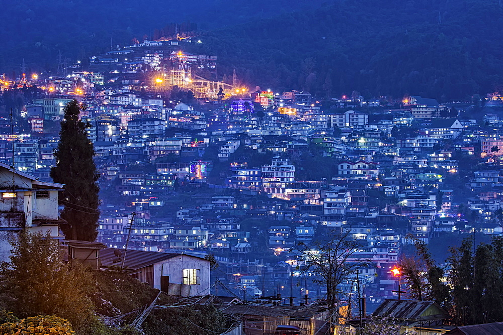 View over Kohima city at night, Nagaland, India, Asia