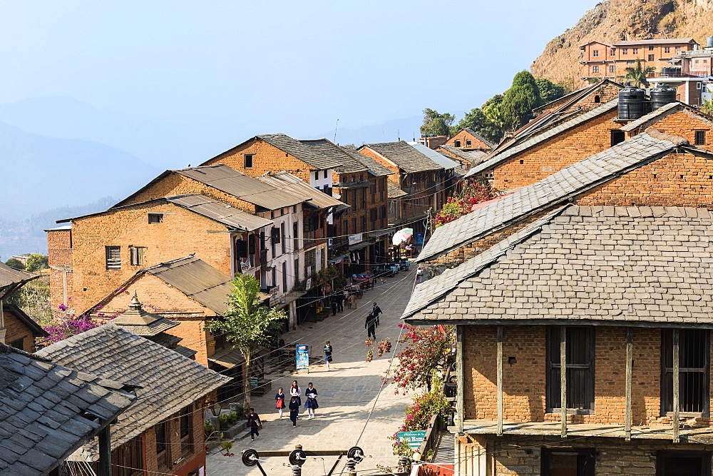 Shops and cafes in Bandipur main street, Tanahun district, Nepal, Asia - 1131-1034