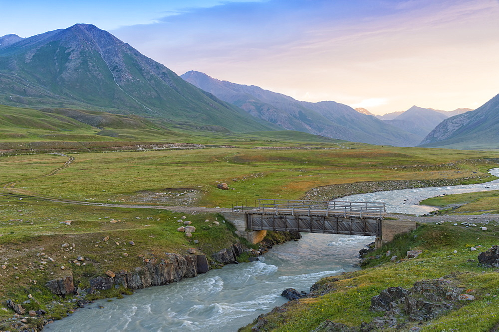 Wooden bridge over a mountain river, Naryn Gorge, Naryn Region, Kyrgyzstan, Central Asia, Asia - 1131-1075