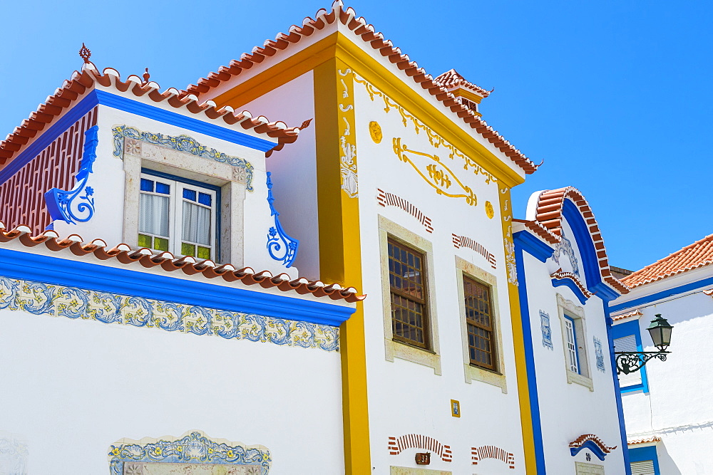 White houses with colorful decoration, Ericeira, Lisbon Coast, Portugal, Europe - 1131-1104