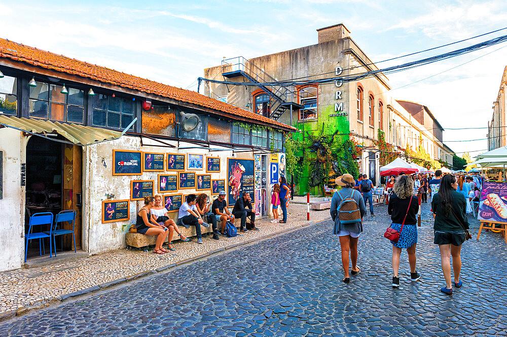 Cobble street in LX Factory street market, Lisbon, Portugal