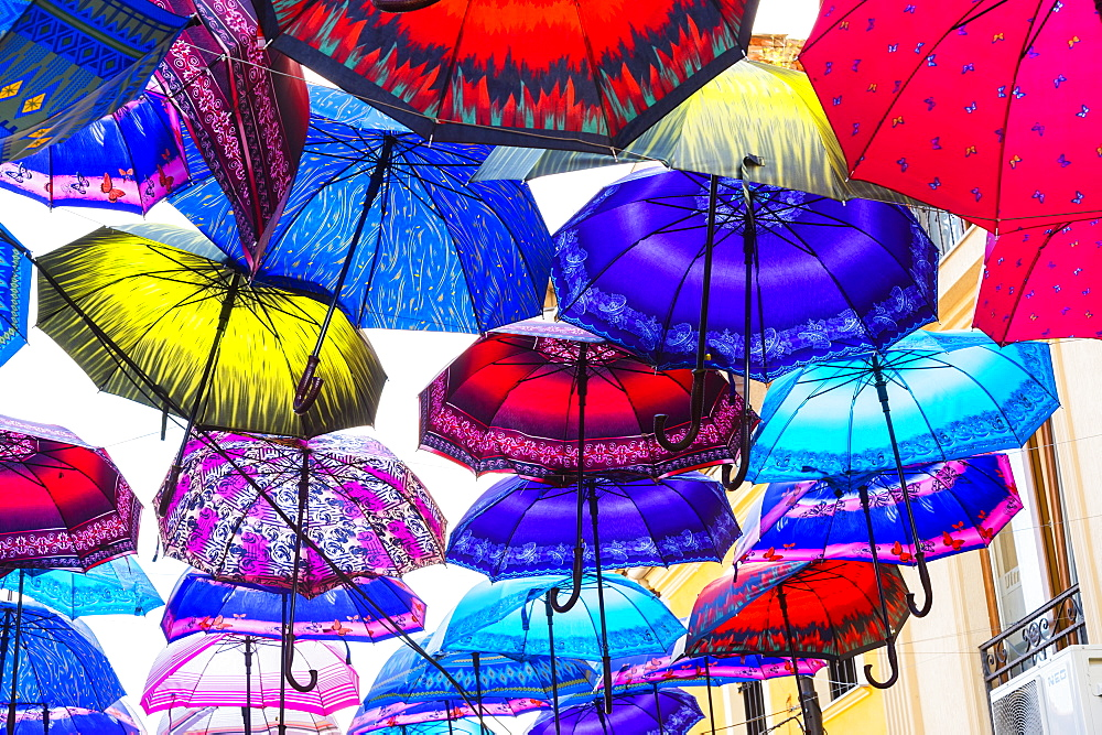 Colorful umbrellas hanging in a street, Skopje, Macedonia - 1131-1129