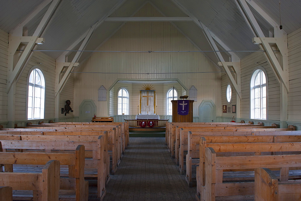 Interior of Whalers' Church, Former Grytviken Whaling Station, South Georgia, Polar Regions