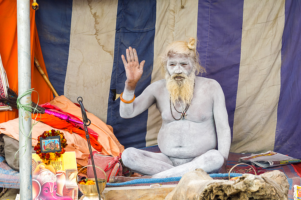 Sadhu covered with white ashes, Allahabad Kumbh Mela, largest religious gathering, Allahabad, Uttar Pradesh, India, Asia