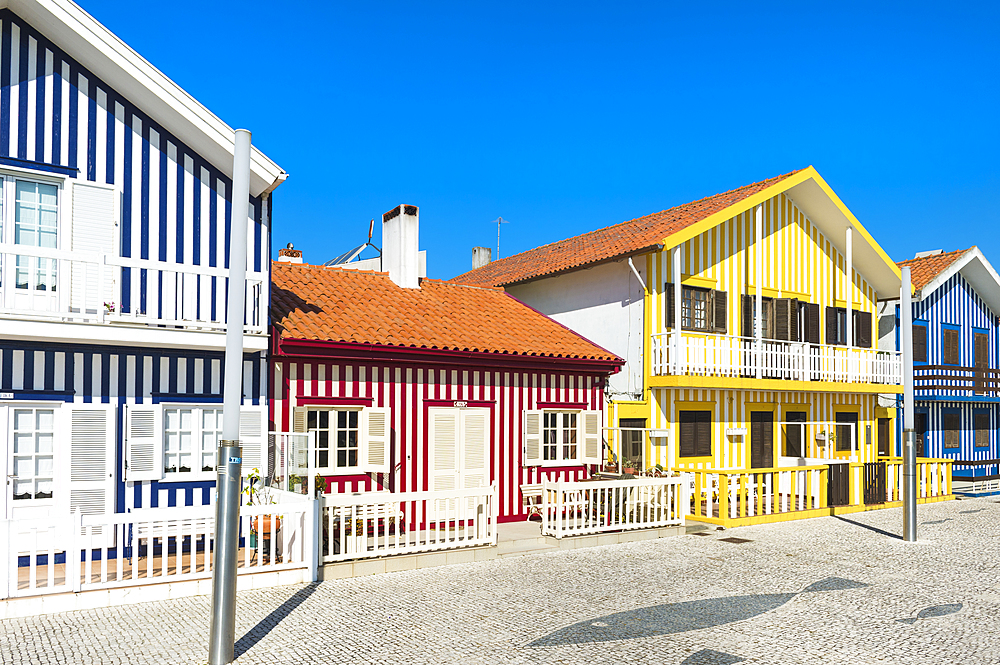 Palheiros typical houses, Costa Nova Beach, Aveiro, Venice of Portugal, Beira Littoral, Portugal