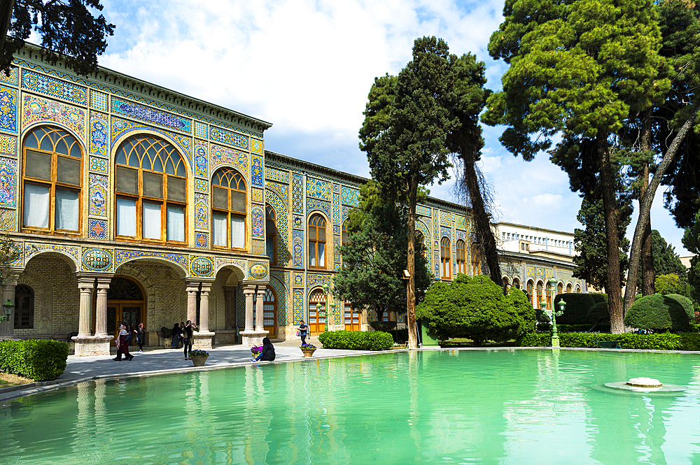 Facade and pond, Golestan Palace, UNESCO World Heritage Site, Tehran, Islamic Republic of Iran, Middle East