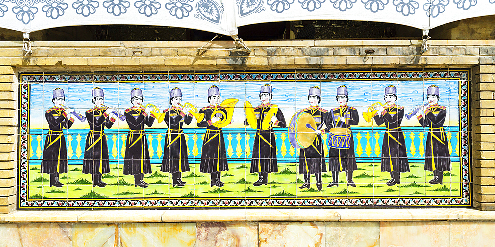 Golestan Palace, Shams al-Emareh, Ceramic Tiles representing a music band, Tehran, Islamic Republic of Iran, Middle East - 1131-1263