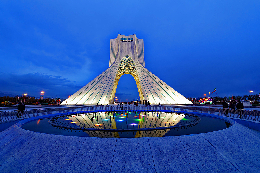 Azadi Tower (Freedom Monument) and cultural complex reflecting in a pond at sunset, Tehran, Islamic Republic of Iran, Middle East - 1131-1265