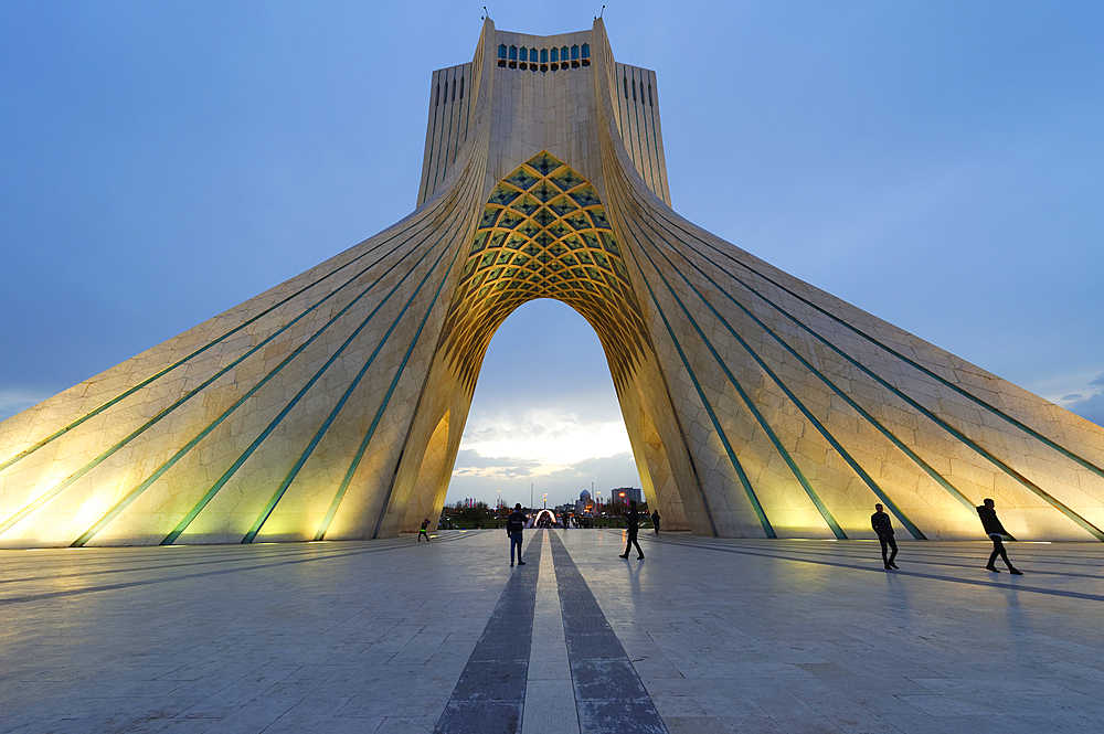 Azadi Tower (Freedom Monument) formerly known as Shahyad Tower and cultural complex at sunset, Tehran, Islamic Republic of Iran, Middle East - 1131-1266