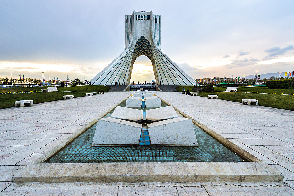 Azadi Tower (Freedom Monument) formerly known as Shahyad Tower and cultural complex at sunset, Tehran, Islamic Republic of Iran, Middle East - 1131-1270