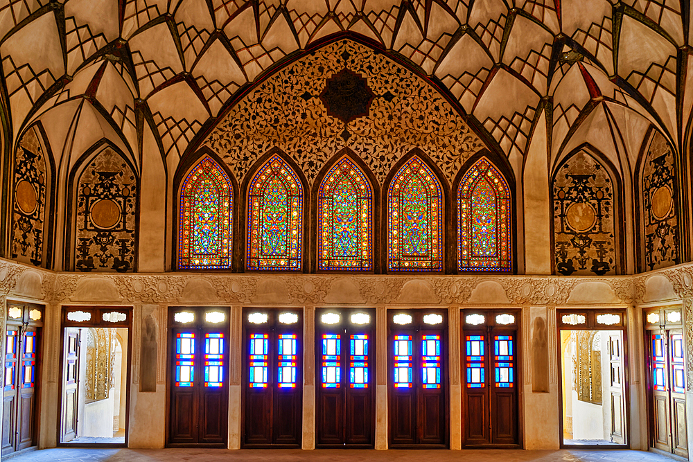 Tabatabai House, stained-glass windows, Kashan, Isfahan Province, Islamic Republic of Iran, Middle East - 1131-1297