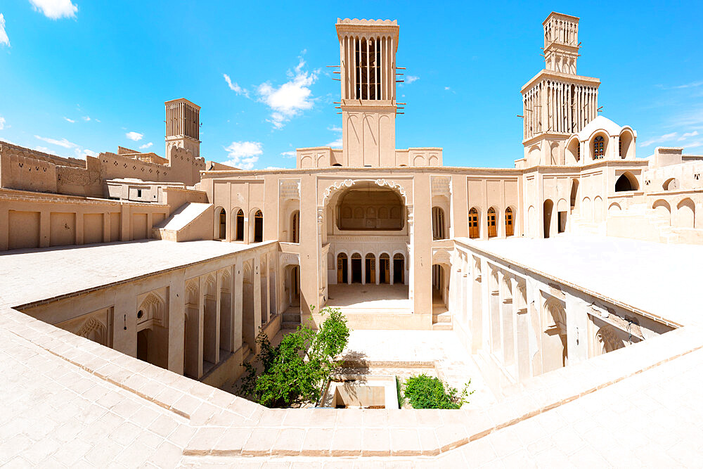 Aghazadeh Mansion courtyard and wind catcher, Abarkook, Yazd Province, Iran - 1131-1322