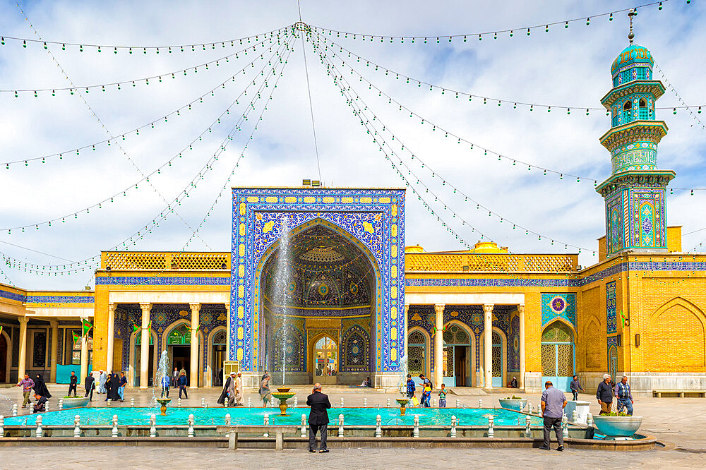 Azam Mosque courtyard, Shrine of Fatima al-masumeh , Qom, Iran - 1131-1345
