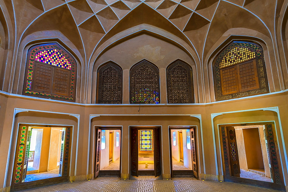 Pavilion under the wind catcher and colourful stained glass windows, Dolat Abad Garden, Yazd, Iran, Middle East