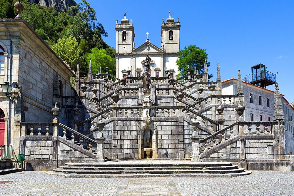 Nossa Senhora da Peneda Sanctuary and Virtue stairway, Peneda Geres National Park, Gaviera, Minho province, Portugal, Europe - 1131-1429