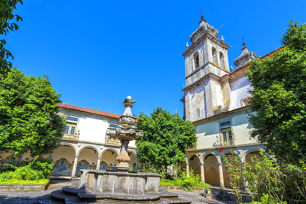 St. Martin of Tibaes Monastery, Cemetery Cloister and fountain, Braga, Minho, Portugal, Europe