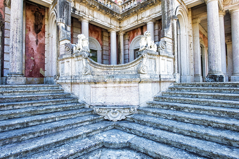 Lions Staircase, Royal Summer Palace of Queluz, Lisbon, Portugal, Europe