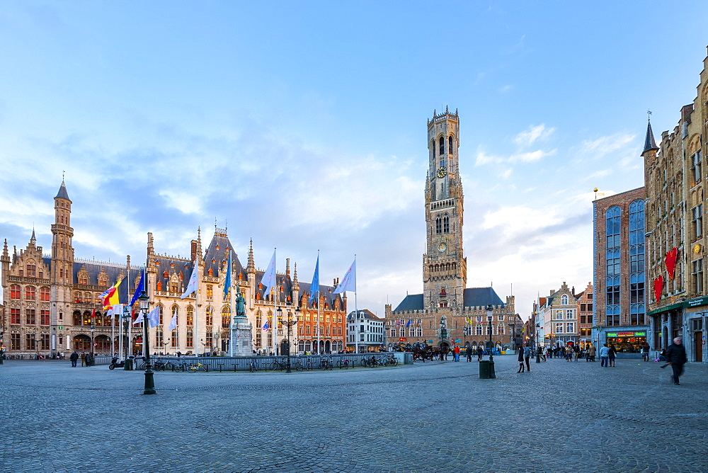 Market square and the Belfry, Historic center of Bruges, UNESCO World Heritage Site, Belgium, Europe