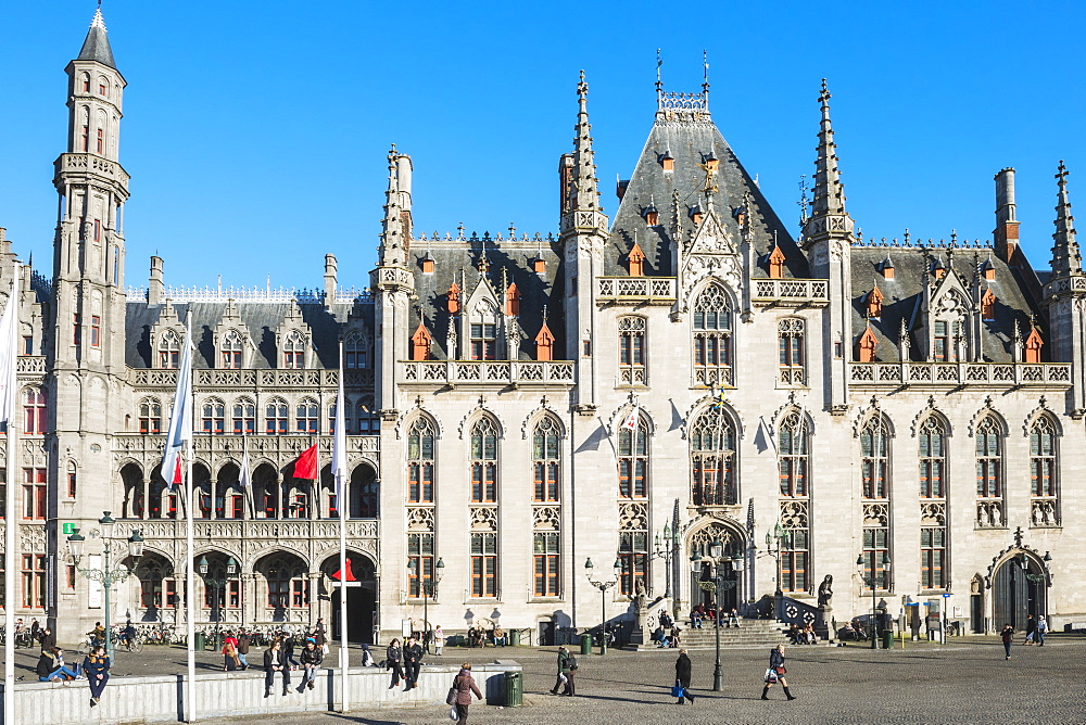 Provincial Government building, Market Square, Historic center of Bruges, UNESCO World Heritage Site, Belgium, Europe