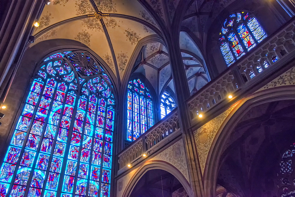 Stained-glass windows, Saint Nicholas Chapel, Aachen Cathedral, UNESCO World Heritage Site, North Rhine Westphalia, Germany, Europe