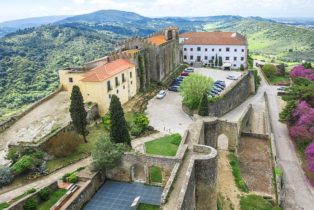View from Palmela castle over the Serra da Arrabida, Setubal Peninsula, Lisbon Coast, Portugal, Europe