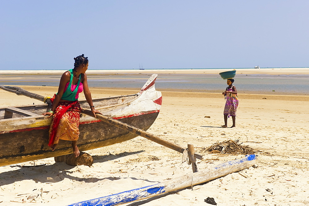 Two young Malagasy women on the beach, Morondava, Madagascar, Africa