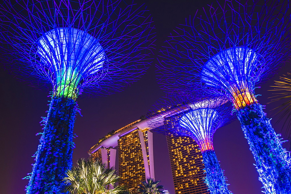 Gardens by the Bay and Marina Bay Sands Hotel at night, Singapore, Southeast Asia, Asia