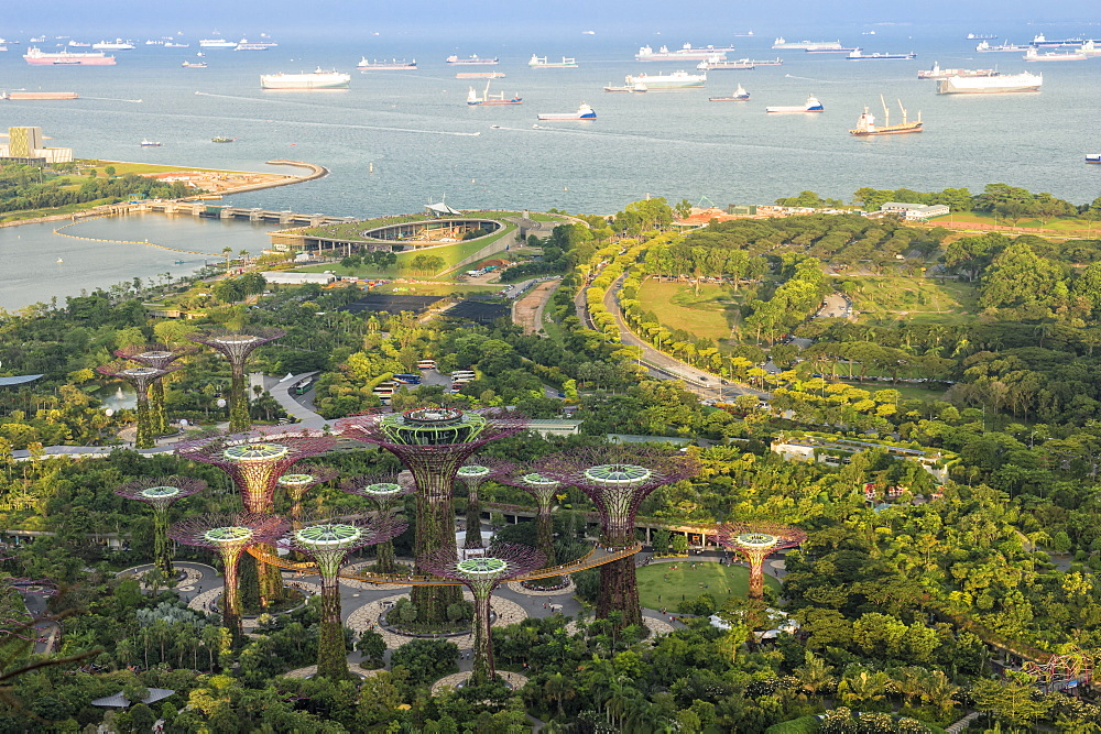 View over the Gardens by the Bay, Singapore, Southeast Asia, Asia