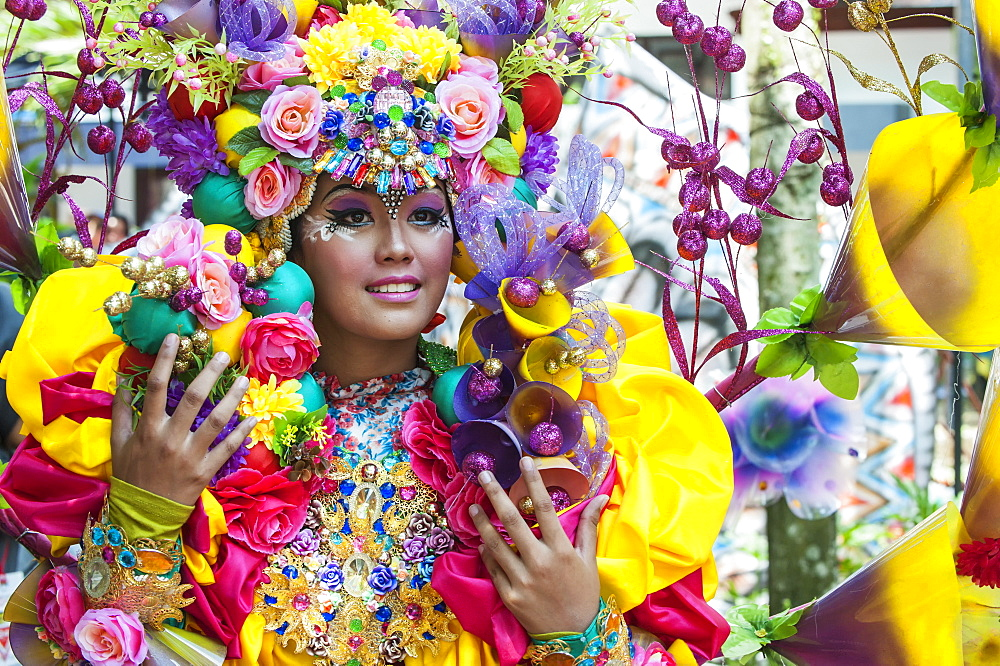 Stock photo of a lady at Jember Fashion Festival and Carnival, East Java
